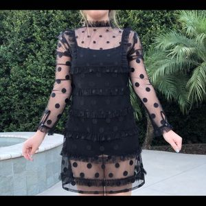 Vintage 70's Sheer Black Polka Dot Dress